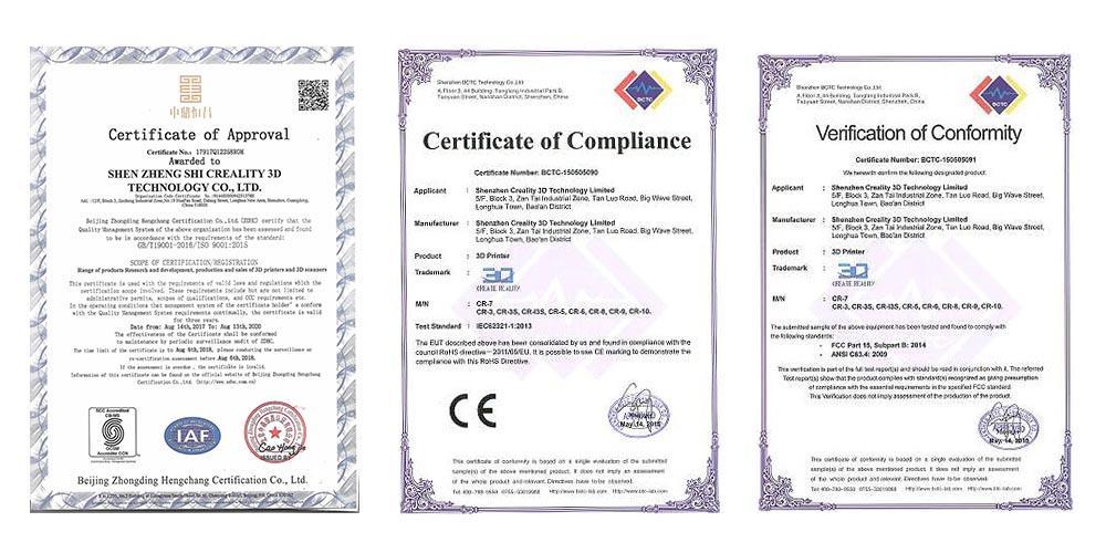 Creality 3D printer Certificate