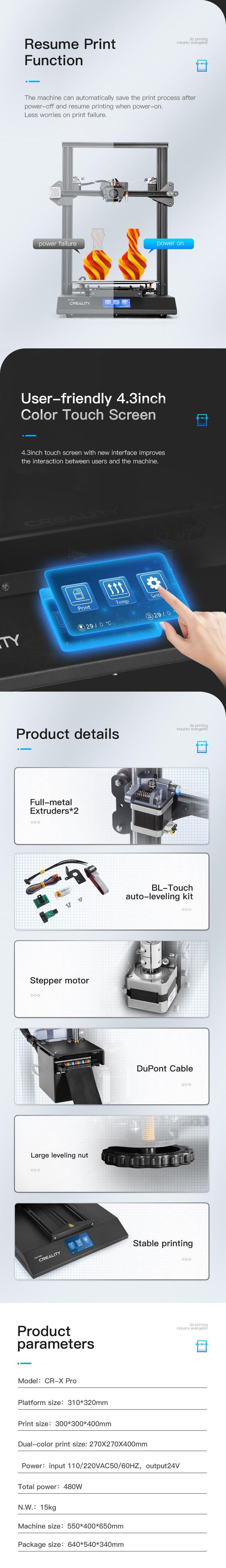creality cr-x pro 3d printer